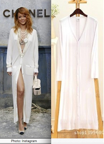 Rihanna's Chanel Cardigan Summer Dress: EBAY CARDIGAN SUMMER COAT