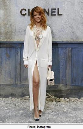 Rihanna in CHANEL cardigan summer coat