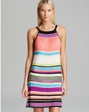 Stripe Knit Swing Cover Up Dress