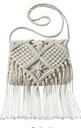 Weave Crossbody Handbag with Fringe - Ivory