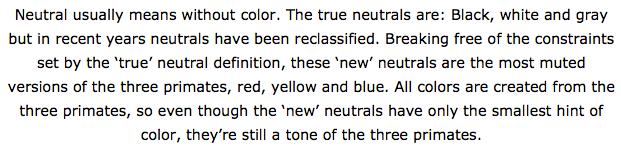 Color me beautiful - True neutrals and New neutrals