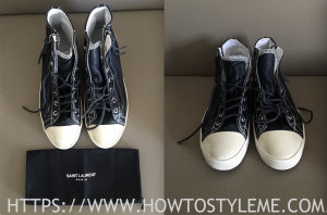 NEW-LUXE-SAINT-LAURENT-BEDFORD-BLACK-LEATHER-SNEAKERS-CONVERSE STYLE-MENS