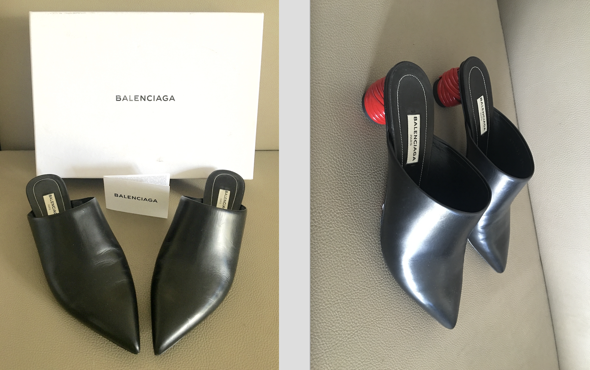 BALENCIAGA BLACK/RED BISTROT BALL HEELS MULES